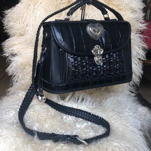 Croc Embossed Black Leather Bag   SB34